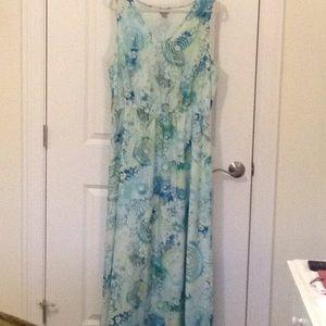 JJill Maxi dress XL Tall.  EUC.  Green, aqua